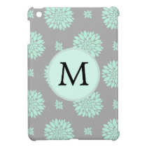 Personalized Monogram Mint and Gray Floral Pattern iPad Mini Cover
