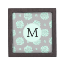Personalized Monogram Mint and Gray Floral Pattern Jewelry Box