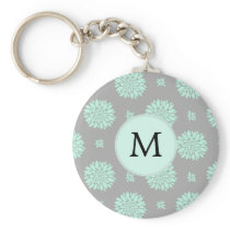 Personalized Monogram Mint and Gray Floral Pattern Keychain