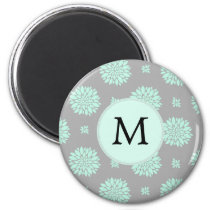 Personalized Monogram Mint and Gray Floral Pattern Magnet