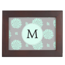 Personalized Monogram Mint and Gray Floral Pattern Memory Box