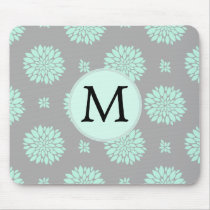 Personalized Monogram Mint and Gray Floral Pattern Mouse Pad