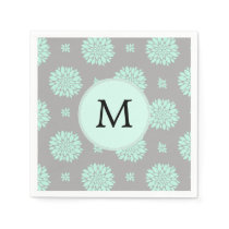 Personalized Monogram Mint and Gray Floral Pattern Paper Napkin