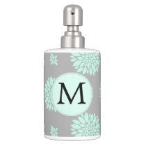 Personalized Monogram Mint and Gray Floral Pattern Soap Dispenser And Toothbrush Holder