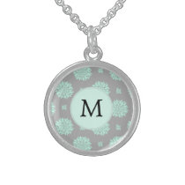 Personalized Monogram Mint and Gray Floral Pattern Sterling Silver Necklace