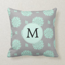 Personalized Monogram Mint and Gray Floral Pattern Throw Pillow