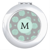 Personalized Monogram Mint and Gray Floral Pattern Vanity Mirror