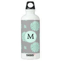 Personalized Monogram Mint and Gray Floral Pattern Water Bottle