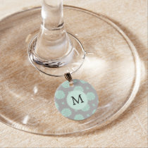 Personalized Monogram Mint and Gray Floral Pattern Wine Glass Charm