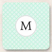 Personalized Monogram Mint double rings pattern Beverage Coaster