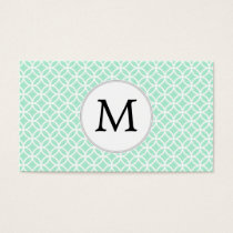 Personalized Monogram Mint double rings pattern Business Card