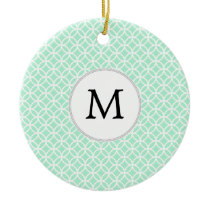 Personalized Monogram Mint double rings pattern Ceramic Ornament
