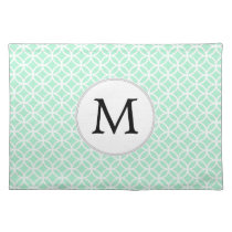 Personalized Monogram Mint double rings pattern Cloth Placemat