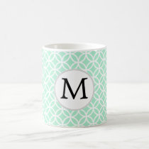 Personalized Monogram Mint double rings pattern Coffee Mug