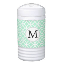 Personalized Monogram Mint Double Rings pattern Cooler