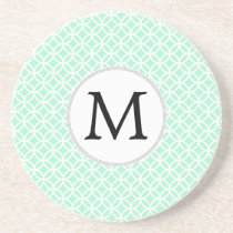 Personalized Monogram Mint double rings pattern Drink Coaster