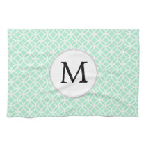 Personalized Monogram Mint double rings pattern Hand Towel