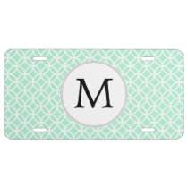 Personalized Monogram Mint Double Rings pattern License Plate
