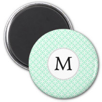 Personalized Monogram Mint double rings pattern Magnet