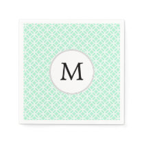 Personalized Monogram Mint double rings pattern Paper Napkin