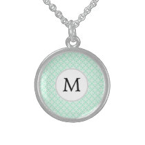 Personalized Monogram Mint double rings pattern Sterling Silver Necklace