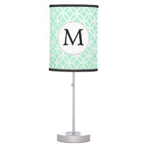 Personalized Monogram Mint double rings pattern Table Lamp
