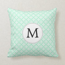 Personalized Monogram Mint double rings pattern Throw Pillow