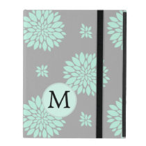 Personalized Monogram Mint Gray Floral pattern iPad Folio Case