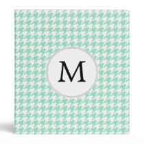 Personalized Monogram Mint Houndstooth Pattern 3 Ring Binder