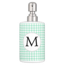 Personalized Monogram Mint Houndstooth Pattern Bathroom Set