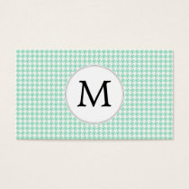 Personalized Monogram Mint Houndstooth Pattern Business Card