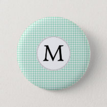 Personalized Monogram Mint Houndstooth Pattern Button