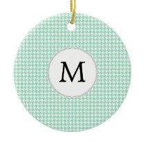 Personalized Monogram Mint Houndstooth Pattern Ceramic Ornament