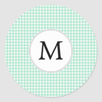 Personalized Monogram Mint Houndstooth Pattern Classic Round Sticker
