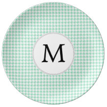 Personalized Monogram Mint Houndstooth Pattern Dinner Plate