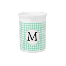 Personalized Monogram Mint Houndstooth Pattern Drink Pitcher