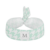 Personalized Monogram Mint Houndstooth Pattern Elastic Hair Tie