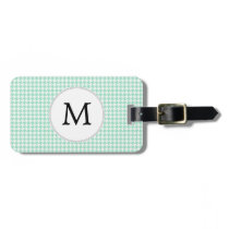 Personalized Monogram Mint Houndstooth Pattern Luggage Tag