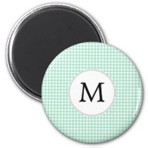 Personalized Monogram Mint Houndstooth Pattern Magnet