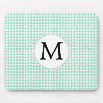 Personalized Monogram Mint Houndstooth Pattern Mouse Pad