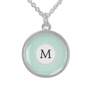 Personalized Monogram Mint Houndstooth Pattern Pendant