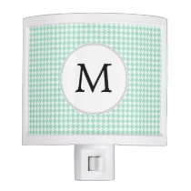 Personalized Monogram Mint Houndstooth Pattern Night Light