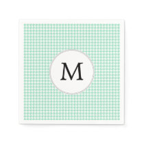 Personalized Monogram Mint Houndstooth Pattern Paper Napkin