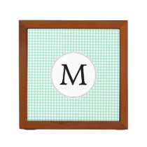 Personalized Monogram Mint Houndstooth Pattern Pencil/Pen Holder
