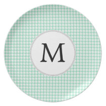 Personalized Monogram Mint Houndstooth Pattern Plate