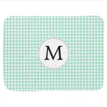 Personalized Monogram Mint Houndstooth Pattern Receiving Blanket