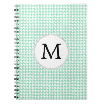 Personalized Monogram Mint Houndstooth Pattern Spiral Notebook