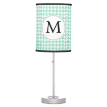 Personalized Monogram Mint Houndstooth Pattern Table Lamp