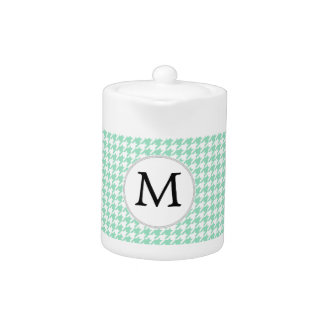 Personalized Monogram Mint Houndstooth Pattern Teapot