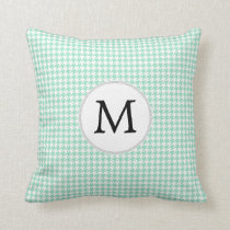 Personalized Monogram Mint Houndstooth Pattern Throw Pillow